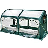 Quictent Pop up Greenhouse Eco-Friendly Fiberglass Poles Overlong Cover 6 Stakes 98 x 49 x 53 Inches Mini Portable Green House W/ 4 Zipper Door