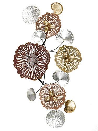 Formano Wanddeko Blume Blätter aus Metall Mehrfarbig Verschiedene Größen (92x49cm)