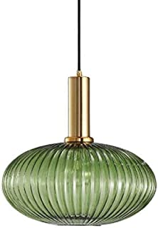 Dcqao Industrial Vintage Style Pendant Lamps Modern Retro Ceiling Hanging Lamps Green Glass Shade Pendant Lighting Cafe Living Room Polished Brass Lamp Holder