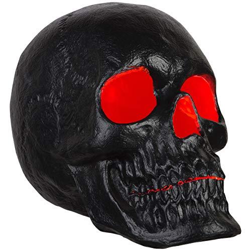 "Gemmy 20"" Blow Mold Lighted Decor Candle Flicker Matte Black Skull, black"