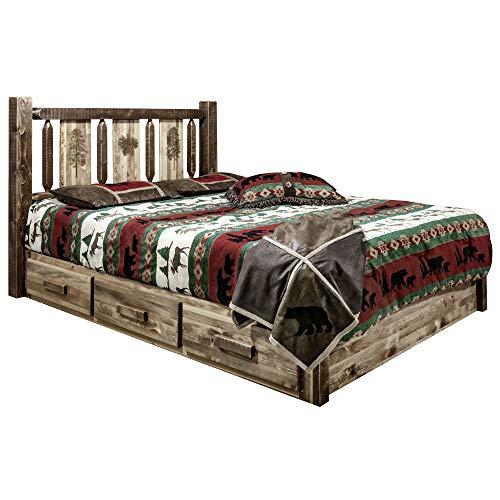 Sale!! Montana Woodworks Homestead Collection Platform Bed w/Storage, King w/Laser Engraved Pine Des...