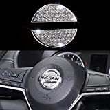 Steering Wheel Bling Crystal Emblem for Nissan, Shiny Accessories Parts Logo Sticker Badge Decals Covers Interior Decorations (for Nissan)