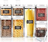 Shazo Airtight Container Set for Food Storage - 7 Piece Set + 14 Measuring Spoons + 18 Labels &...