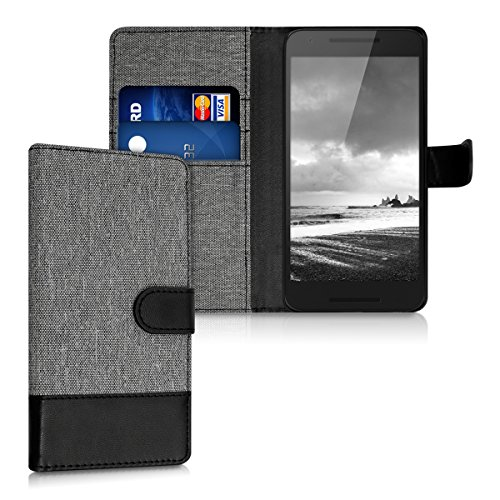 kwmobile Wallet Hülle kompatibel mit LG Google Nexus 5X - Hülle mit Ständer - Handyhülle Kartenfächer Grau Schwarz