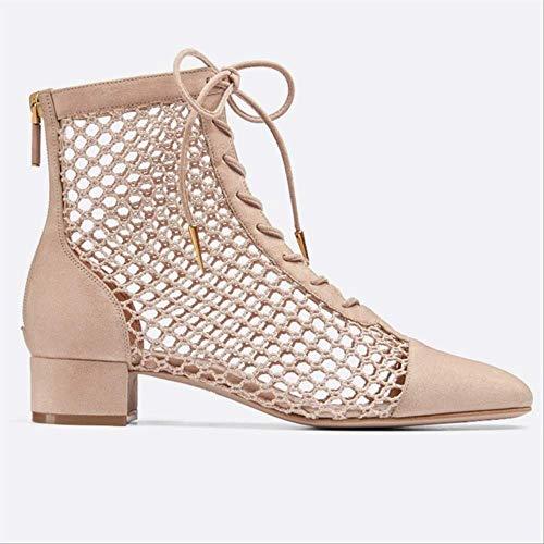 SHZSMHD hoge kwaliteit vrouwen zomer lake-up leer laarzen vierkant hoge hak vrouwen schoenen uithollen vrouwelijke laarzen