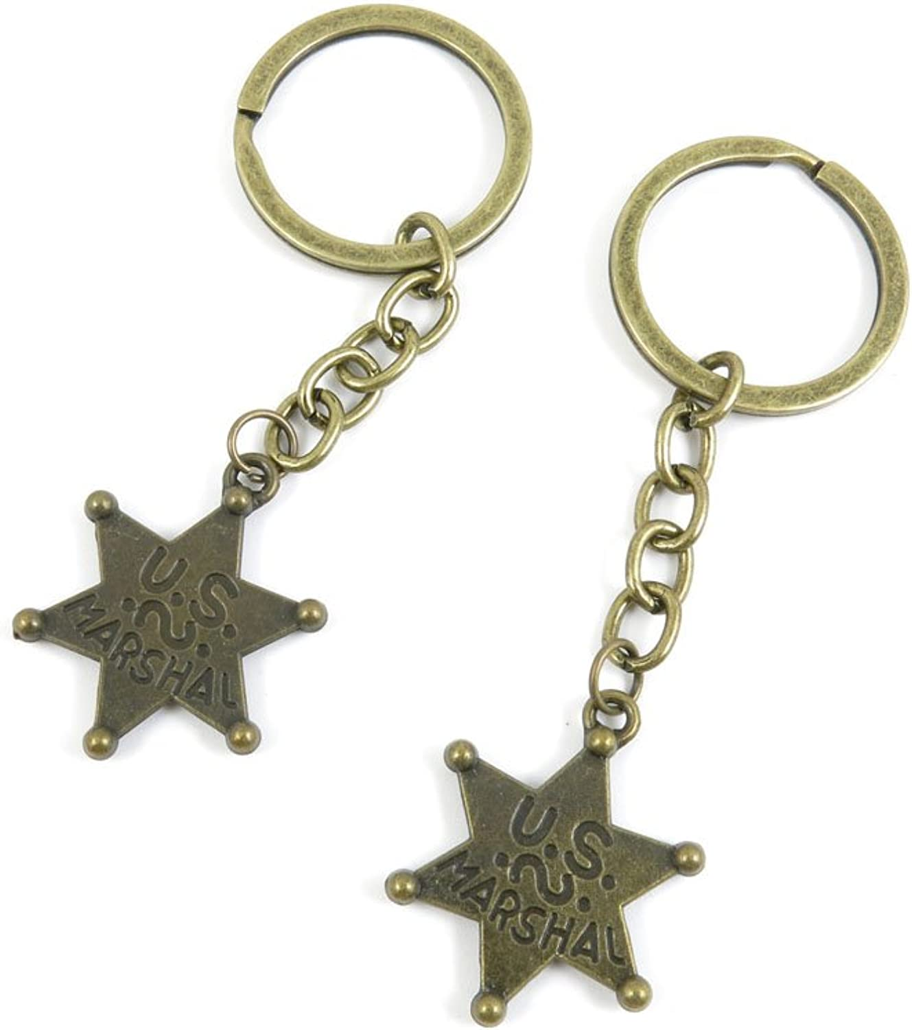 180 Pieces Fashion Jewelry Keyring Keychain Door Car Key Tag Ring Chain Supplier Supply Wholesale Bulk Lots E9JI1 US Marshal Star