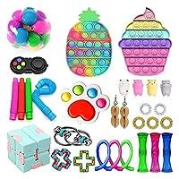 フィジットのおもちゃのパック、ディンプルフィジットパックポップバブル安い感覚玩具ストレスリリーフのフィジゲットのおもちゃ子供大手のための大理石のメッシュ不安チューブ (Color : Pack 4)