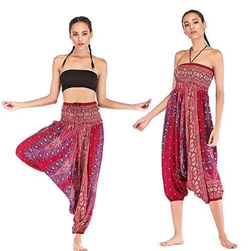 Maimango Conjunto holgado de Yoga Harem para mujeres Boho Hippie (Wine red,One Size)