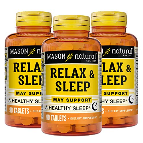 Mason Natural Relax & Sleep with a Natural Herbal Formula That Contains Valerian Root & Passiflora Extract Tablets 90-Count Bottles (Pack of 3)