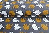 Qualitativ hochwertiger Jersey Stoff mit Elefanten in