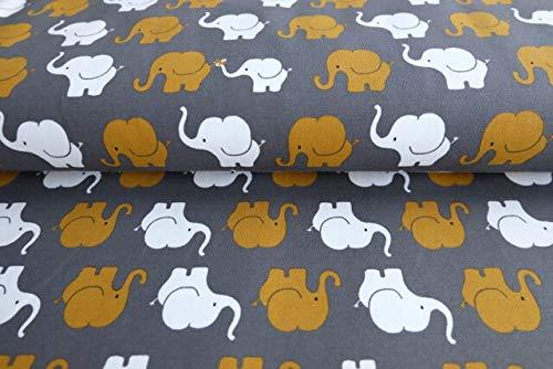 Jersey Stoff mit Elefantenparade in Senf/Grau als Meterware zum Nähen von Baby, Kinderkleidung, 50 cm