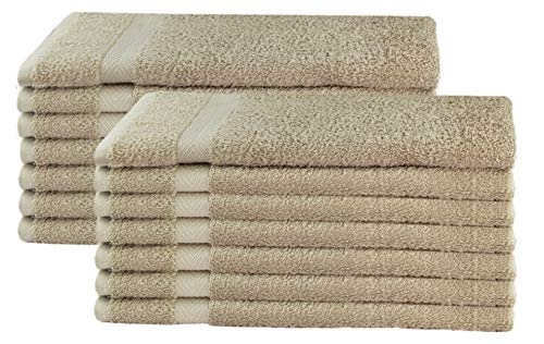 COTTON CRAFT - 14 Pack Linen Hand Towels - 100% Ringspun Cotton - 16x28 - Light Weight 450 Grams - Quick Drying and Highly Absorbent