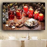キャンバス絵画ケーキキャンドルドリンクスカンジナビアポスタープリントキッチン壁アート食品写真リビングルームクアドロス装飾-70x100cmフレームなし