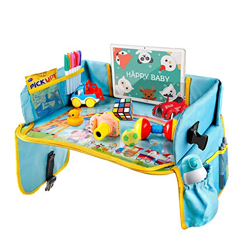 Vassoio da Viaggio, BlueFire Snack e Play Tray da Viaggio, Vassoio Attività per Bambini con Superficie di Cancellabile, 11 Tasche, 3 Penna, per...