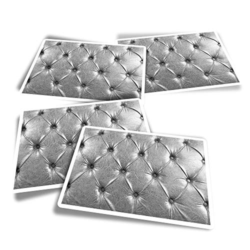 Pegatinas rectangulares de vinilo (juego de 4) – Plata Chesterfield Old Leather para sofá, divertidas calcomanías para portátiles, tabletas, equipaje, reserva de chatarra, frigoríficos #16139