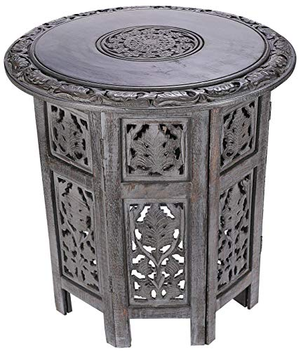 Solid Wood Hand Carved Accent Table, Side Table, entryway Table, Wooden end Table, Bedside Table, Octagonal Wooden Table - 18 Inch Round Top x 18 Inch High - Dark Grey