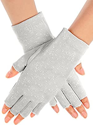 Maxdot Sunblock Fingerless Gloves Summer Driving Gloves UV Protecting Gloves for Women (Grey)