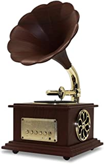 Vintage Gramophone With Brass Horn Reproduction RCA Victor Record Player Loudspeaker, Turntable Phonograph (Color : A)