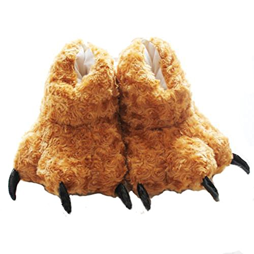 TONWHAR Animal Paw Claw Fuzzy Faux Fur Warm Novelty Slippers (Brown)