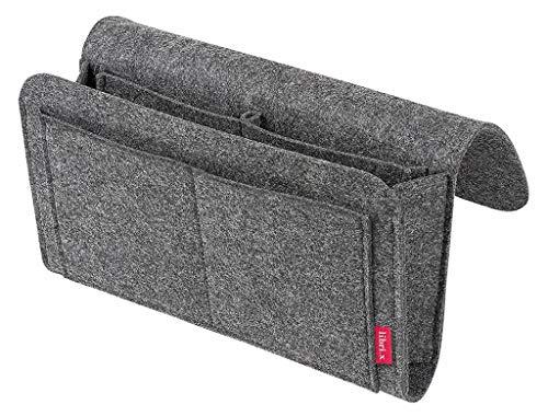 Moses. libri_x Buchhalter Filz | Bettablage zum Einhängen | Organizer zur Befestigung am Bett, dem Sofa oder der Stuhllehne, grau, Uni
