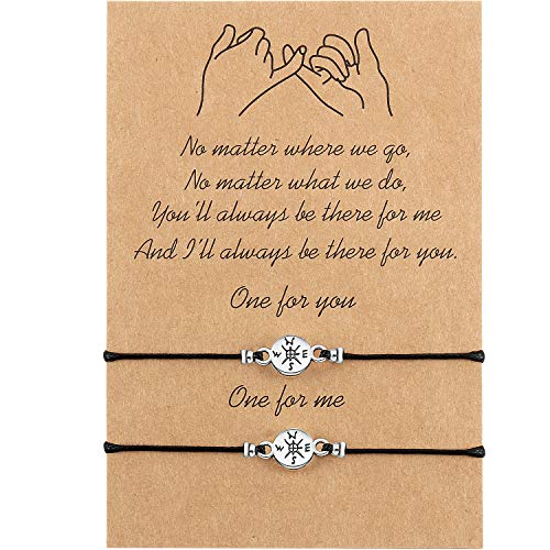 WILLBOND Promise Friendship Bracelet for Friend Couple Family Girlfriend Boyfriend Women (Brújula Pequeña)