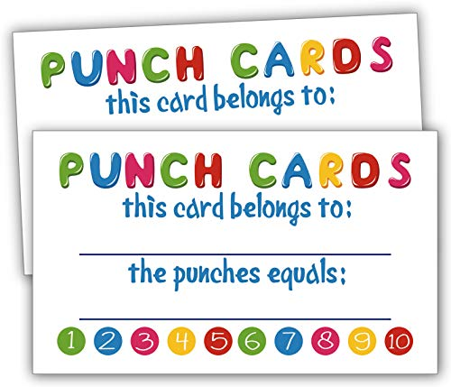 Incentive Cards-50 Rewards Punch Cards for Kids, Students, Teachers, Small Business, Classroom, Chores, Reading Incentive Awards for Teaching Reinforcement Loyalty Cards for Business Customers.