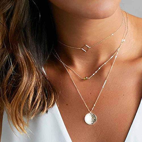 Jovono Gold Multi Collar con colgante lentejuelas aleacion para