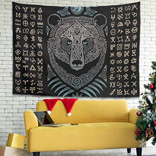 Facbalaign Tapiz de oso vikingo para colgar en la pared, para salón, dormitorio, color blanco, 150 x 130 cm