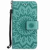 Yiizy Huawei Ascend P7 Funda, Pétalos Sol Diseño Billetera Carcasa Estuches PU Cuero Cover Cáscara Protector Piel Ranura para Tarjetas Estilo (Verde)