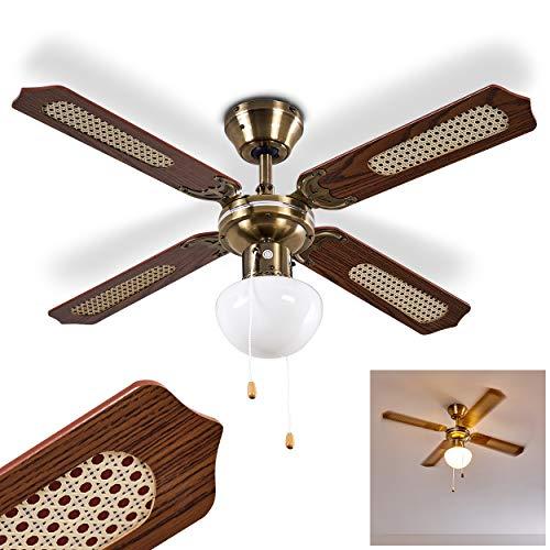 Deckenventilator Morea aus Metall/Holz/Glas in Alt-messing/Braun, Deckenlampe mit Ventilator mit 2 Zugschnuren, in 3 Stufen schaltbar, wendbare Rotorblätter, geeignet für Sommer u. Winter