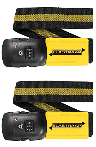 Luggage Strap ELASTRAAP Superior Strength Non-Slip with TSA Combination Lock (6 Colour Options) (Yellow 2pk, 2pk)