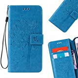 LEMORRY para Samsung Galaxy Grand Prime G530 Funda Estuches Cuero Billetera Piel Protector Magnética Cierre TPU Silicona Carcasa Tapa para Galaxy Grand Prime G530, Árbol Suerte Azul