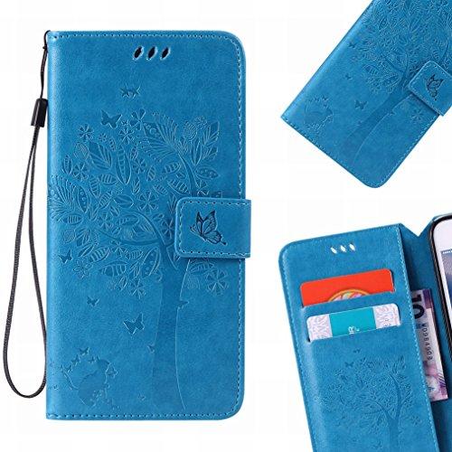 LEMORRY Handyhülle für LG K3 Hülle Tasche Geprägter Ledertasche Beutel Schutz Magnetisch Schließung SchutzHülle Weich Silikon Cover Schale für LG K3 (K100,LS450), Glücklicher Baum Blau