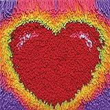 MTCDBD Latch Hook Kit Funda De Almohada,DIY Tirar Almohada Cubierta De Materiales Paquete, Rojo Corazón Patrón De Mano Craft Crochet Alfombra Hilo Bordado, Regalo De Desafío para Niños Y Adultos