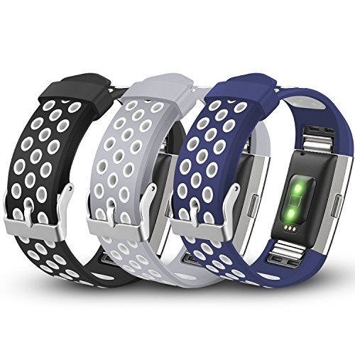 iHillon Compatible with Fitbit Charge 2 Bands, 3-Pack Soft Breathable Bands Sport Accessories Wristbands Compatible with Fitbit Charge 2 Smart Fitness Watch, Small Large (No Tracker)