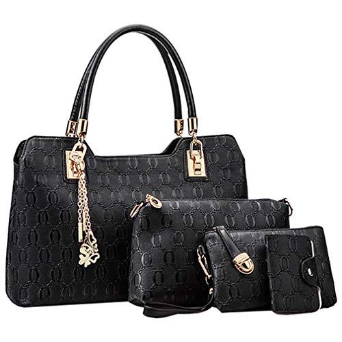 Pahajim Handtaschen und Geldbörsen Set Laptop Damen Handtasche Designer Damen Tasche Set Elegant 4 Stück Set for Shopper Synthetic PU Leather Hobo Set of 4 Small Cosmetic Bag (schwarz)