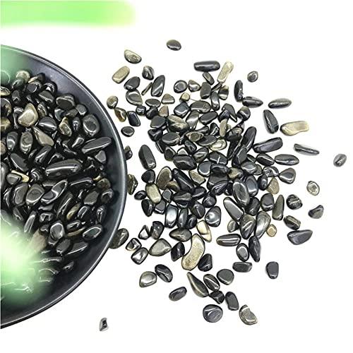 50g, 2 tamaños, Piedras de Grava de obsidiana Dorada Natural, desmagnetización de Cristal, decoración del hogar DIY, Piedras y minerales Naturales curativos (Color : 7-9mm)