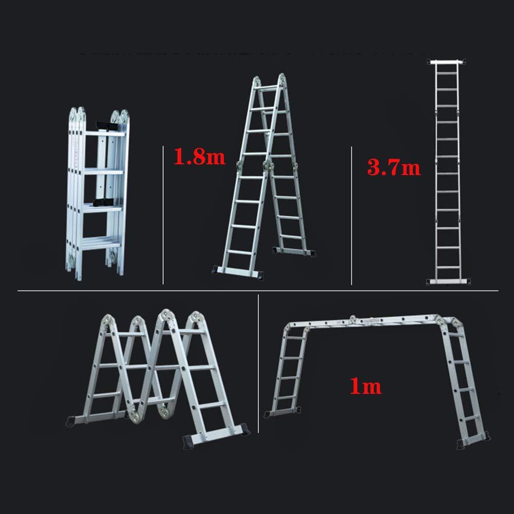 Escalera Telescópica bisagra de bloqueo de seguridad, extensible y multiusos, aluminio, pies antideslizantes de goma, fabricado según especificaciones, 330 Lbs de capacidad (escalera de 4 x 3): Amazon.es: Hogar