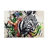 WKAQM De La Lona Sala De DecoracióN Grandes Animal Cartel Impresiones Resumen Arte Pintura Moderno Pared Vivir Pasillo Inicio Cuadros Acuarela 40×60cm Cebra Sin Marco TlO-426
