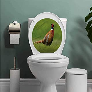 ThinkingPower Bird Toilet Seat Tattoo Cover Pheasant Long Tail Meadow Vinyl Bathroom Decor W14XL16 INCH