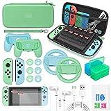 Switch Zubehör-Set – 24-in-1 Upgraded Kit mit Tragetasche & Displayschutzfolie, Joycon Grips & Rennrad, Schutzhülle, Daumengriffe, Spielhalterungen & USB-Kabel für Nintendo Switch
