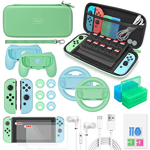Switch Accessories Bundle for Animal Crossing - 26 in 1 Accessories Kit with Carrying Case,Screen Protector,Joycon Silicone Case,Handle Grips,Steering Wheel,Thumb Caps,Type-C Cable for Nintendo Switch