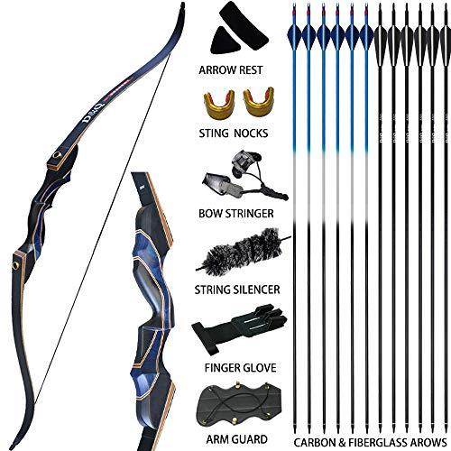 D&Q Bogenschießen Recurve Pfeil und Bogen Set zum Erwachsene Männer Frauen Anfänger 30-50 lbs Jagd Herunter nehmen Long Bow Kit mit Carbon Fiberglas Pfeile Rechte Hand (40 lbs)