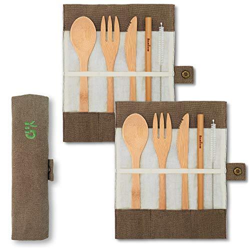 Twee Bamboe Bestek Set | Reisbestek Set | Eco Friendly Flatware Set | Mes, Vork, Lepel en Stro| Houten Bestek Set | Camping Bestek Set met Reistas | 15 cm | Bambaw
