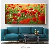 QWESFX Poppy Flower Canvas Art Wandmalereien für Schlafzimmer Wand dekorative Bilder Realist Blumen Pop Art Leinwanddrucke Wohnkultur (Druck ohne Rahmen) A5 60x120CM