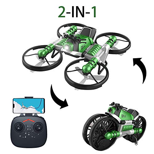 YEIBOBO 2-in-1 Transforming Motorcycle and 2.4G RC Quadcopter Drone with 300,000 Pixel HD Camera (Green)