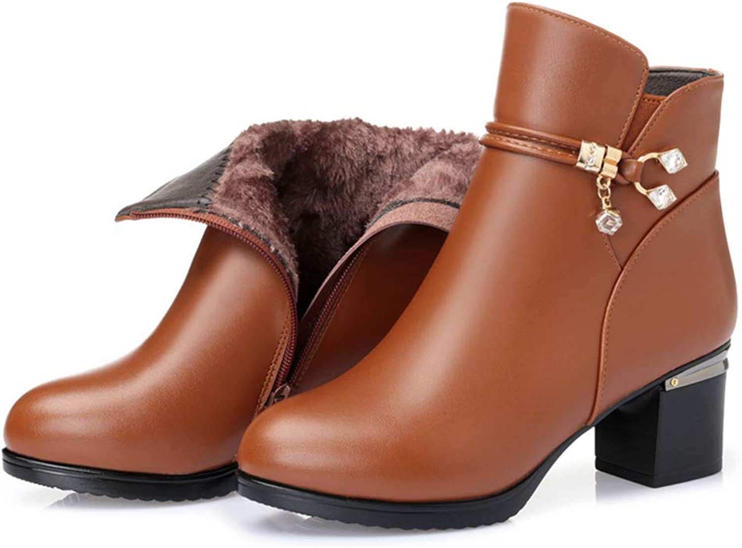 Women's Booties, Leather Non-Slip Mom shoes Ladies Mid Heel Thick Heel Plus Velvet Middle Aged Cotton shoes Martin Boots (color   A, Size   43)