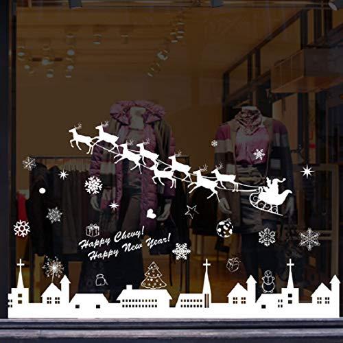 Tuopuda Natale Adesivi Murali Rimovibile Vetrofanie Fai Da Te Wallpaper Renna Fiocchi Di Neve Città Christmase Decor Decora La Tue Finestre Con Gli Adesivi A Tema Natalizio Invernale
