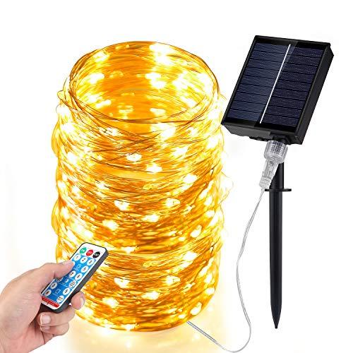 Guirnaldas Luces Exterior Solar, 200 Luces de Hadas Remoto, Luces LED de Alambre de Cobre de 20m a Prueba de Agua, Luces de Decoración para Jardines, Hogar, Baile, Fiesta, Navidad
