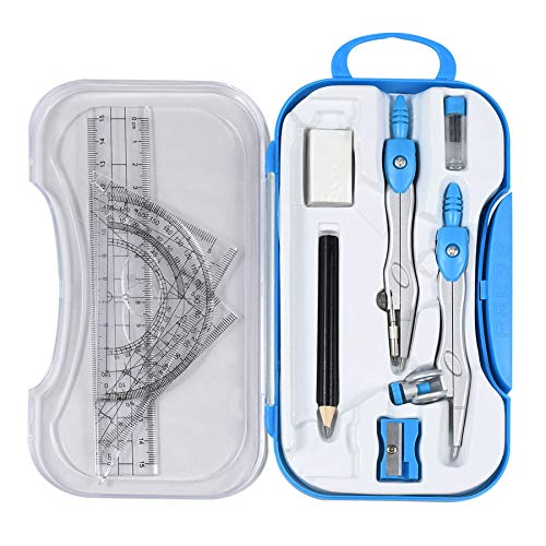 Math Geometry Kit Set 10 Pieces Student Supplies with Shatterproof Storage Box,Includes Rulers,Protractor,Compass,Pencil Lead Refills,Pencil,Eraser.for Woodworking, Drafting and Engineering Drawings